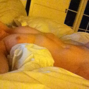 Brie Larson nude in bed showing tits and pussy