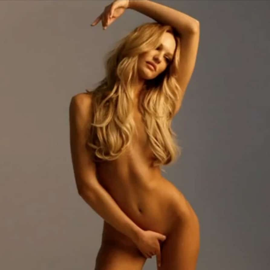 Candice Swanepoel nude while modeling on set