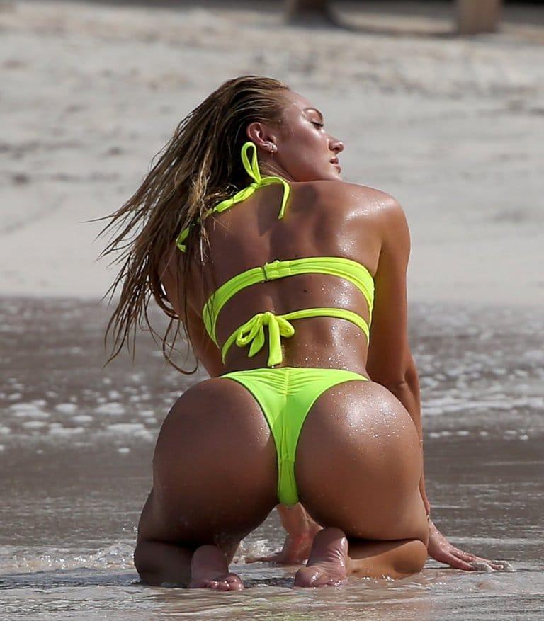Candice Swanepoel booty in lime green bikini on beach!