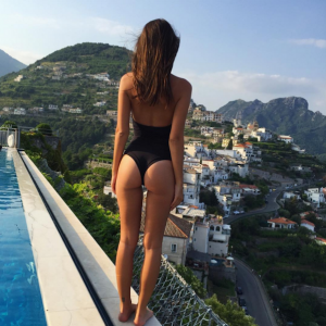 Emily Ratajkowski ass pic over looking a city