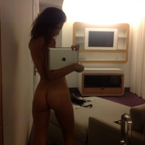 Emily Ratajkowski naked mirror selfie with ipad