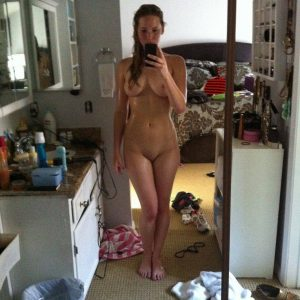 Jennifer Lawrence completely bare in front of mirror