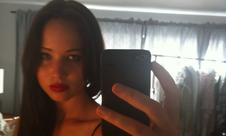 Jennifer Lawrence fappening selfie photo with dark hair