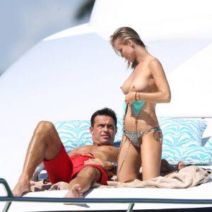 Joanna Krupa boobs on a yacht with husband