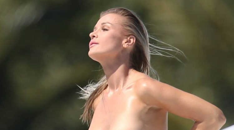 Joanna Krupa topless on a yacht
