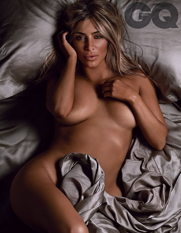 Kim Kardashian GQ blonde hair naked in sheets