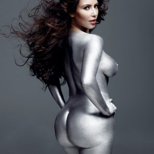 Kim Kardashian dipped in silver and baring it all