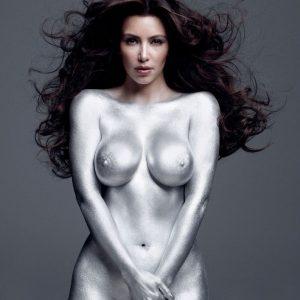 Kim K silver naked body