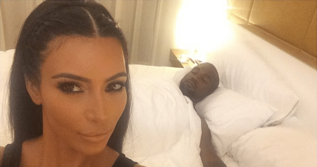 kim kardashian leaked pic of kanye and her in bed