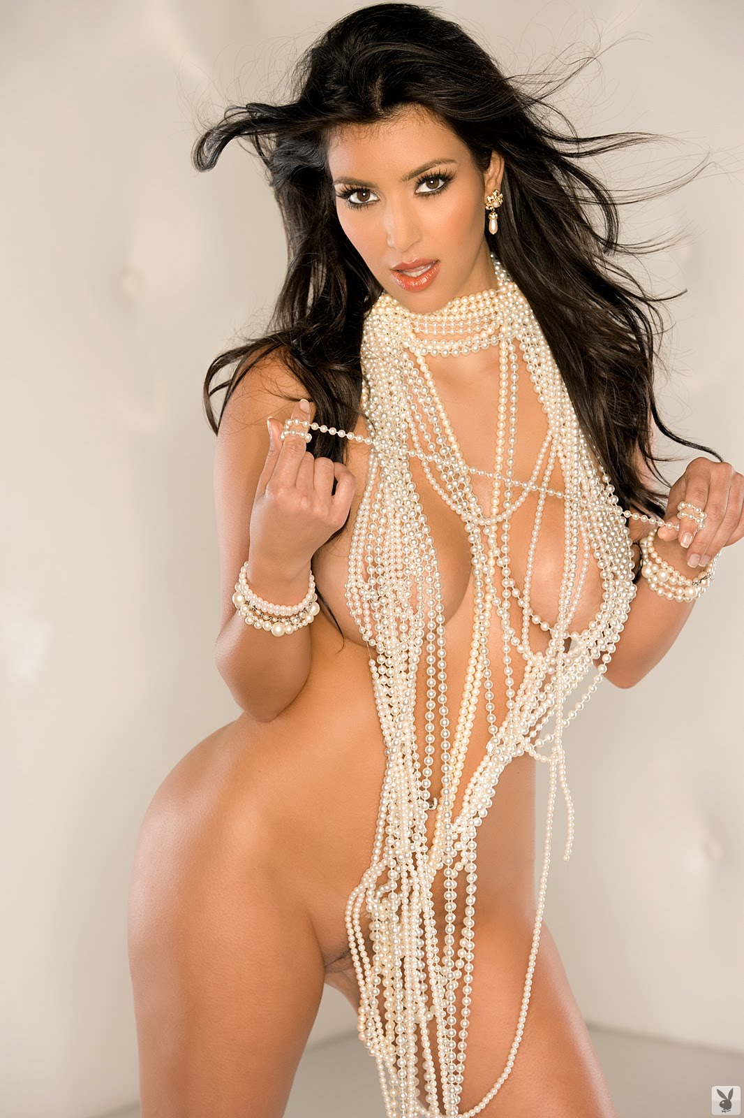 Kim Kardashian naked with pearls for playboy magazine 2010