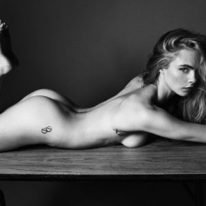 2016 photo shoot of Cara Delevingne completely nsfw and laying on the ground