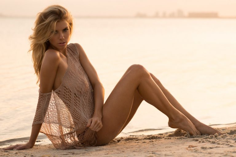 charlotte mckinney see through top on beach