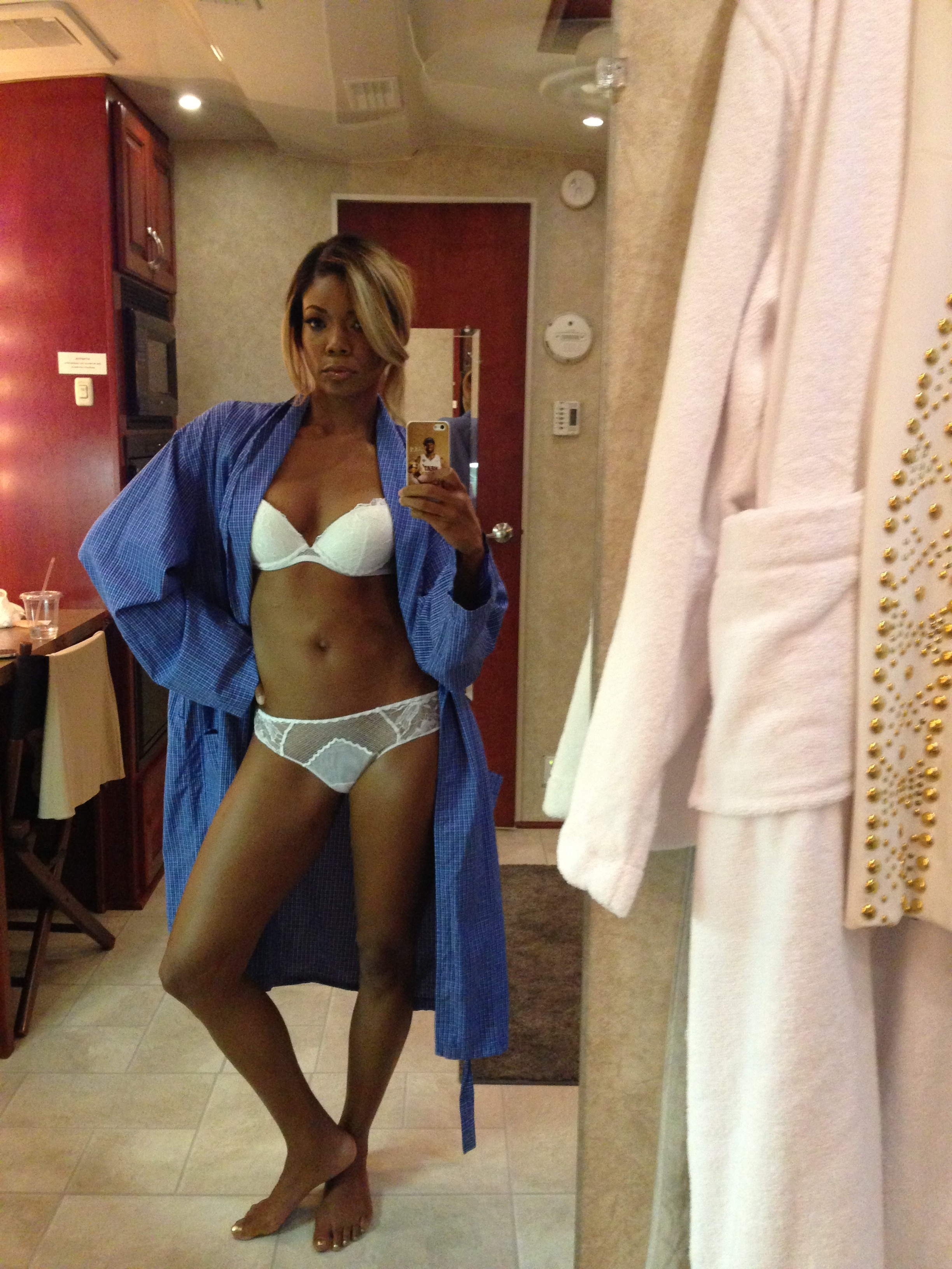 sexy lingerie mirror selfie of gabrielle union