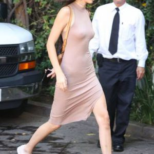 jenner nipples visible in pink dress