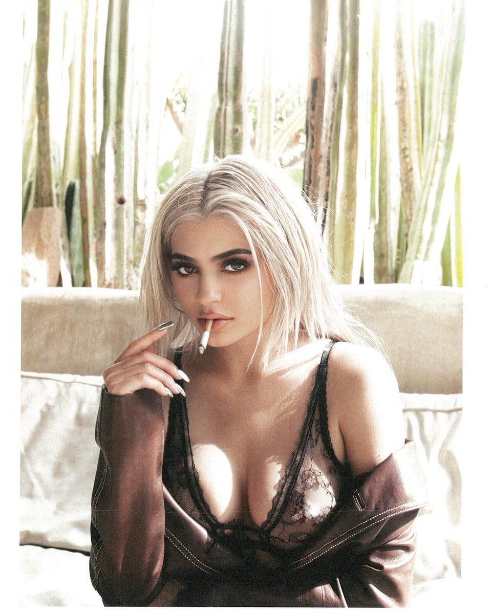 Kylie Jenner See Through Bra smoking a cig