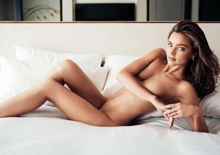 completely naked miranda kerr laying in bed