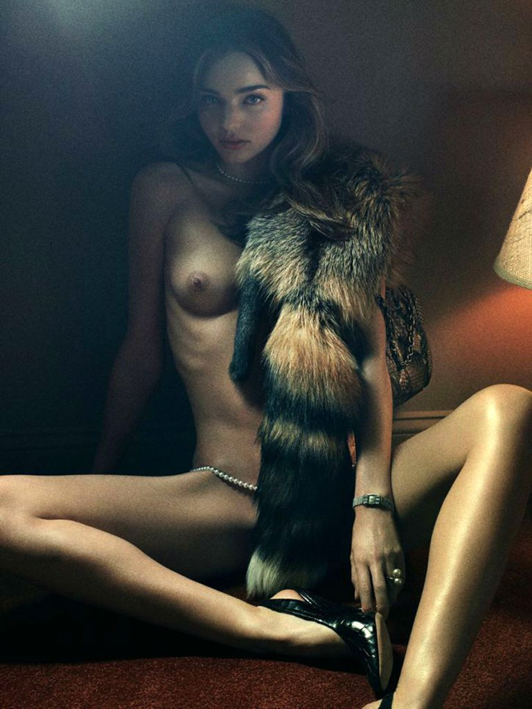 model miranda kerr topless with fur