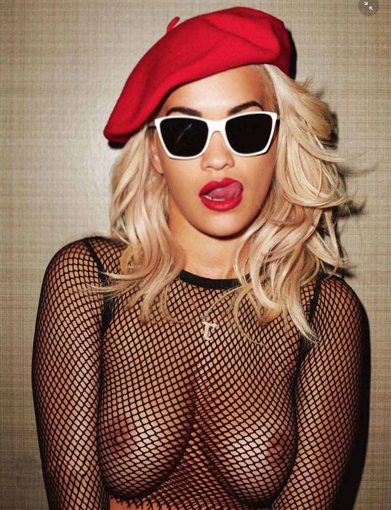 singer rita ora nipples exposed in mesh top