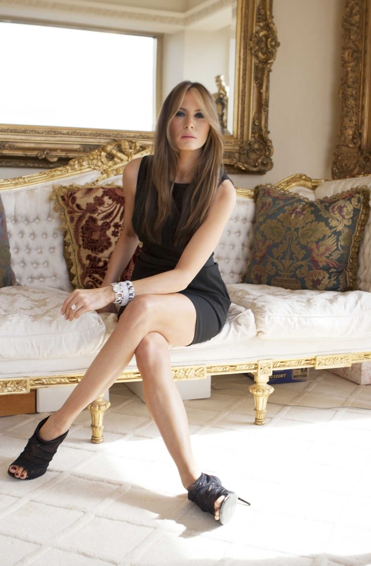 Melania skirt legs crossed