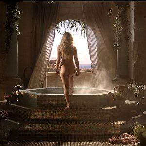 emilia clarke about to get in a bath totally naked