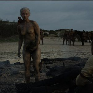 completely naked emilia clarke with mud all over her
