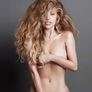 hot pic of lady gaga topless with curly hair
