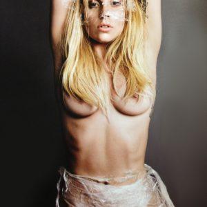 blonde hair lady gaga topless with saran wrap around her body