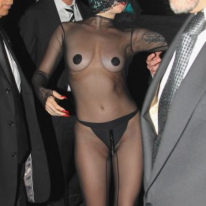 star lady gaga in see through mesh with boobs visible