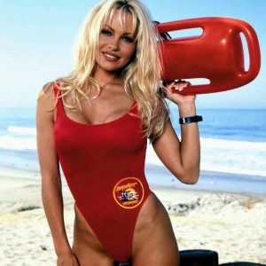a young pamela anderson in baywatch swimsuit
