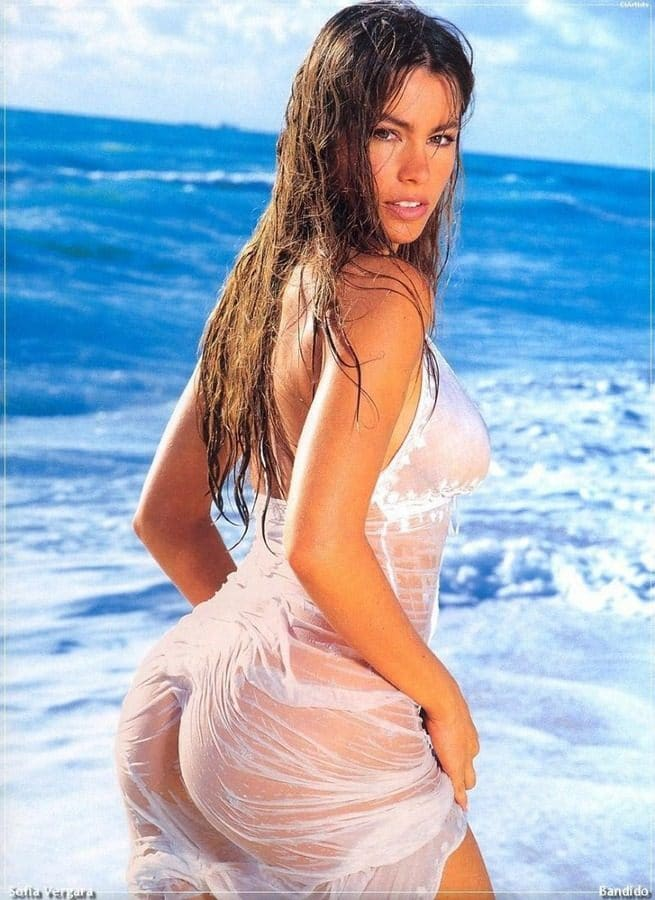 celeb sofia vergara in a see through wet shirt at the beach