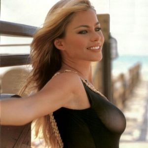nipples exposed of sofia vergara in black tank top