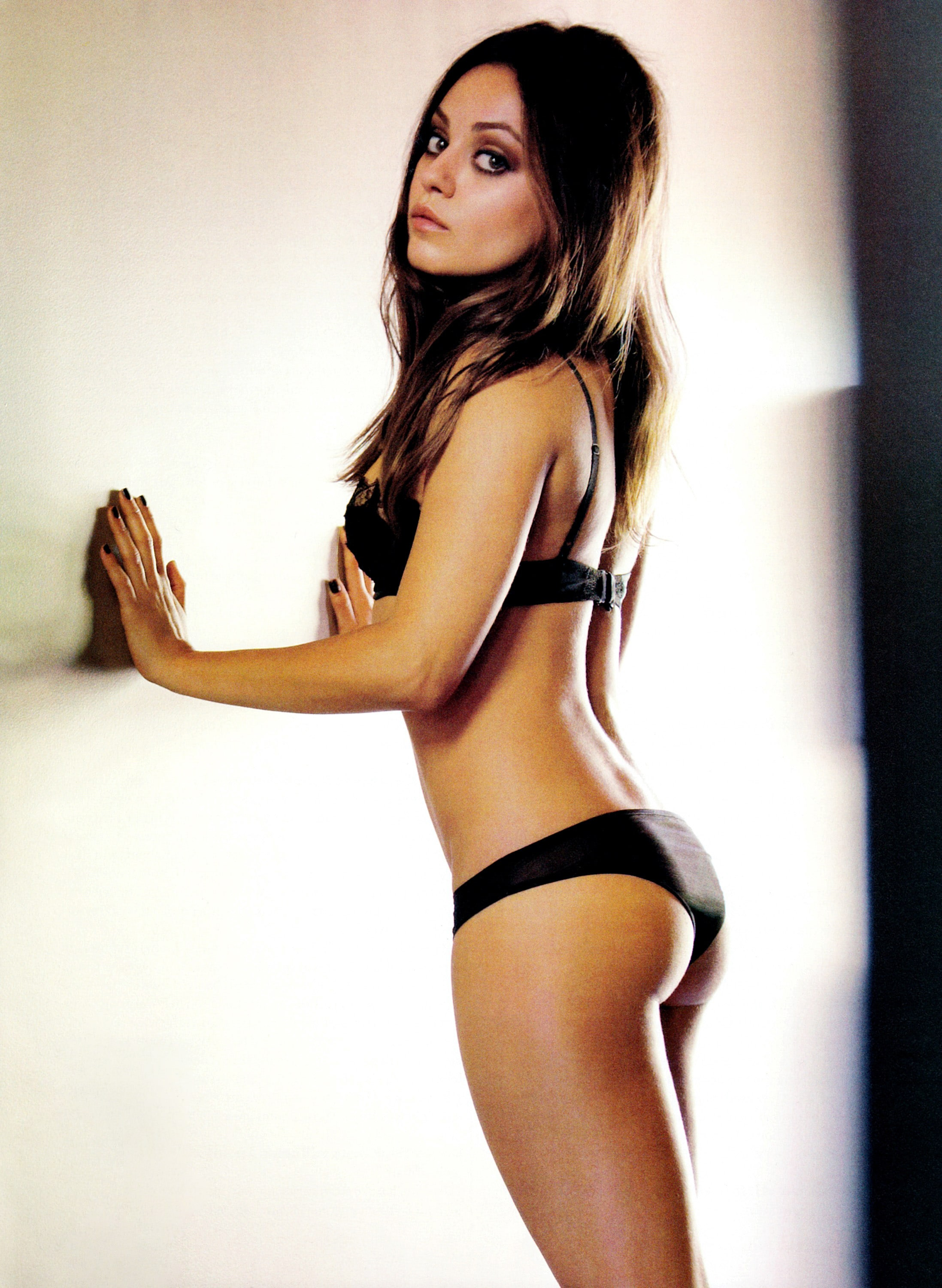 hot pic of mila with black lingerie on
