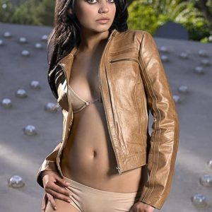 brunette goddess mila kunis topless with leather jacket on top and nude thong on