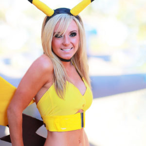 blonde babe jessica nigri wears pikachu costume showing her hot body
