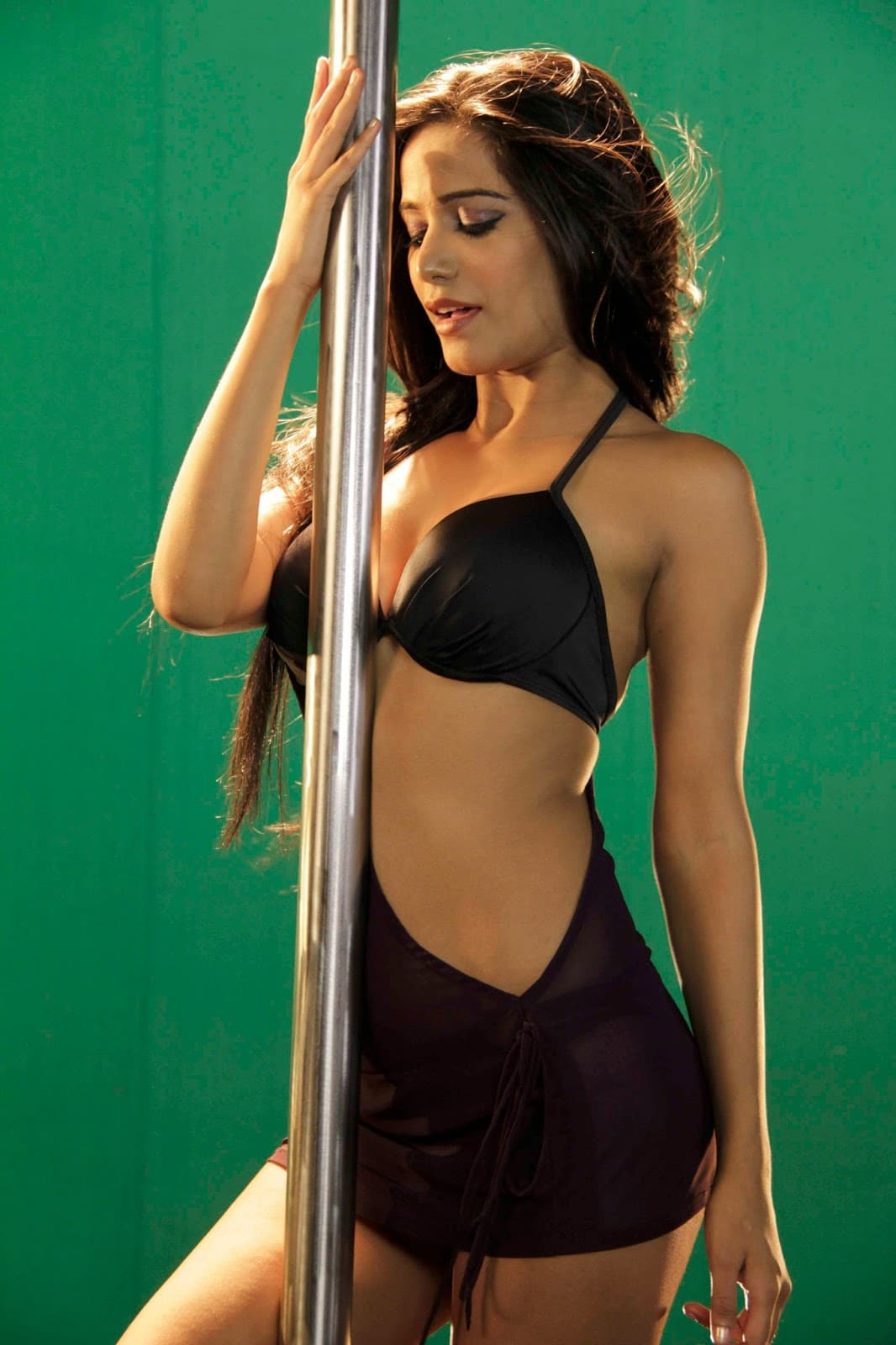 Bollywood actress Poonam Pandey with a stripper pole