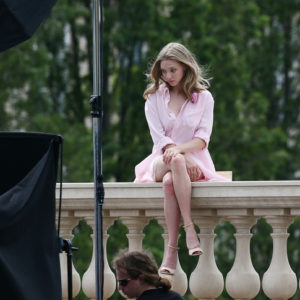 actress amanda seyfried modeling in paris in pink outfit looking sultry