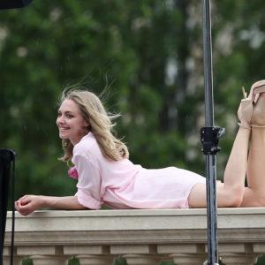 Sexy Celeb Amanda Seyfried on Balcony with heels on looking seductive