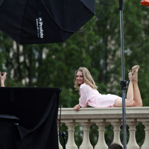 celeb amanda seyfried looking flirty on paris balcony