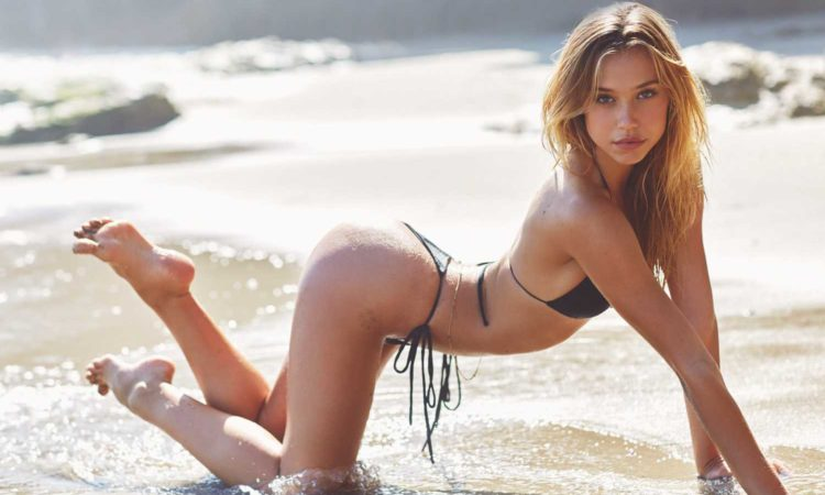 Alexis Ren in bikini on all fours