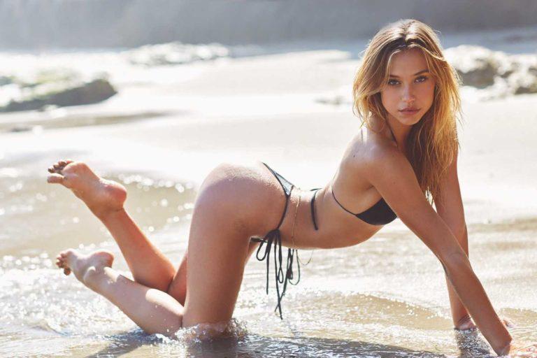 Alexis Ren in bikini on all fours