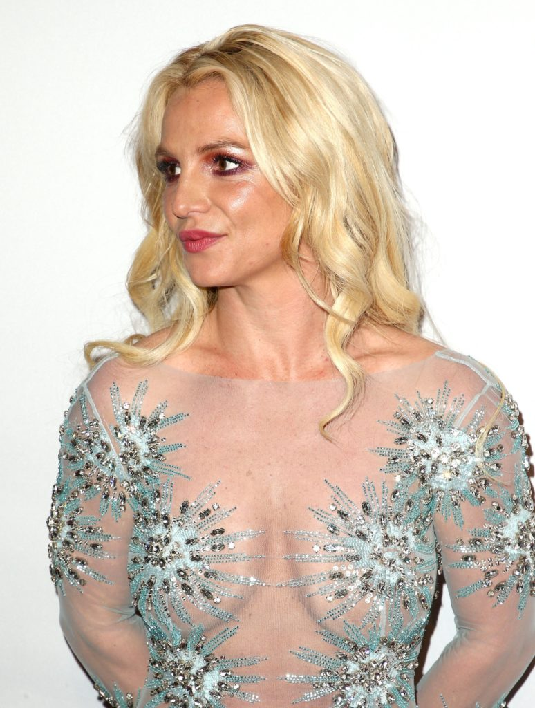 Britney Spears in see through blue dress