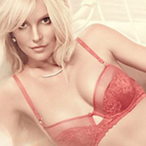 Britney Spears modeling in red bra
