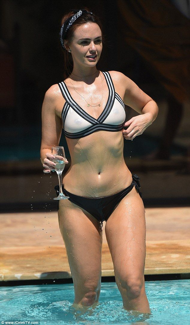 Jennifer Metcalfe's nipples showing through cream top bikini