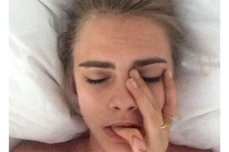 Cara Delevingne selfie in bed