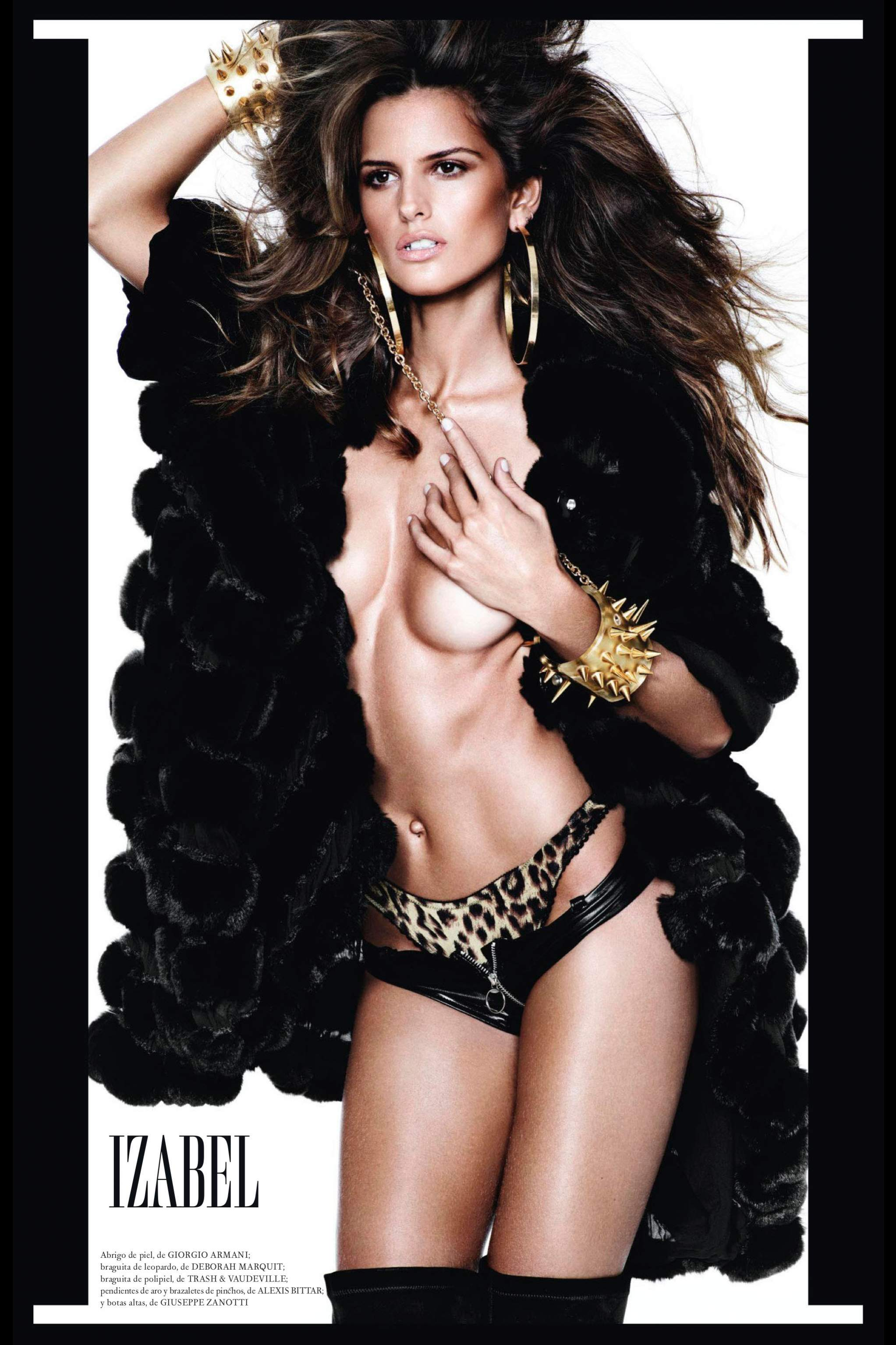 Izabel Gouart in black lingerie and fur coat with no bra on