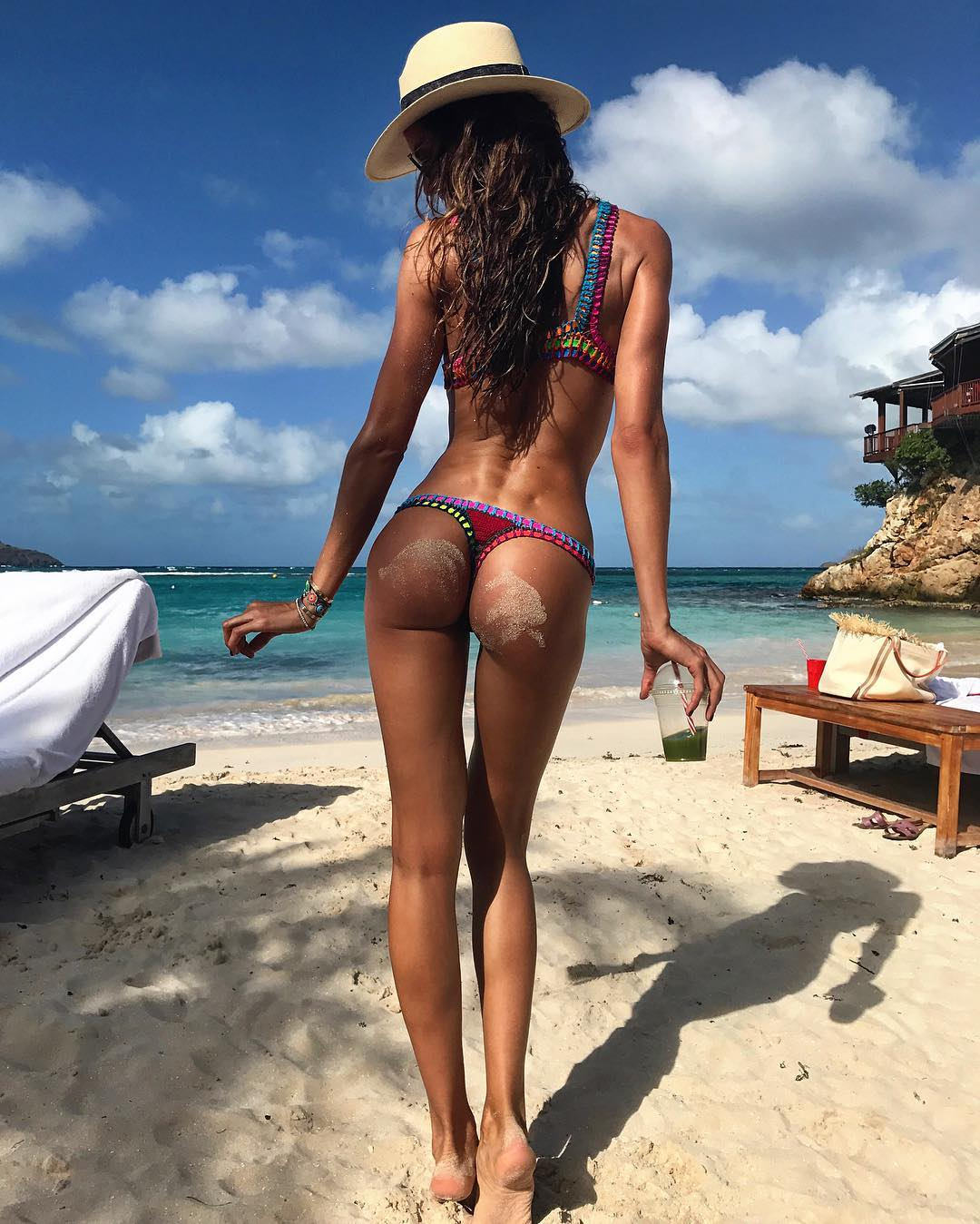 Izabel Goulart ass in a thong at the beach