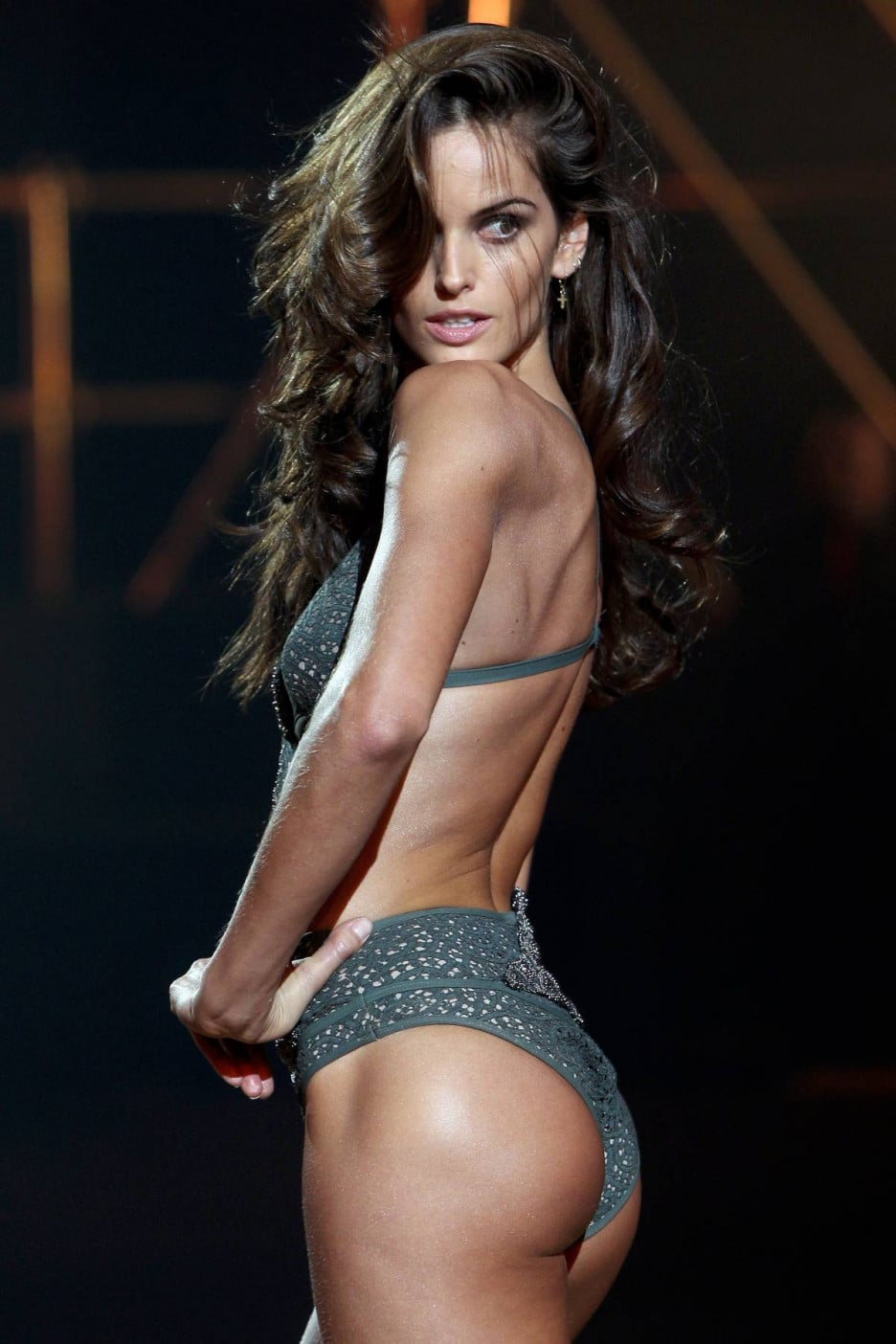Izabel Goulart booty in green lingerie