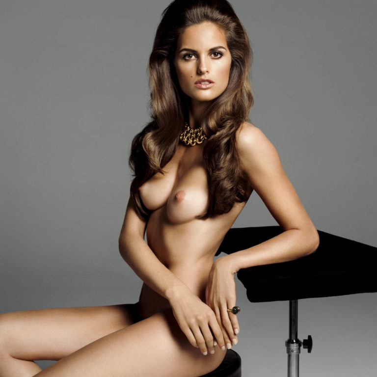 Izabel Goulart sitting totally naked with her nipples exposed and hair down