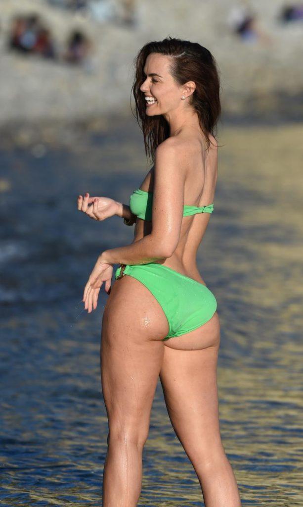 Jennifer Metcalfe in lime green bikini in Ibiza